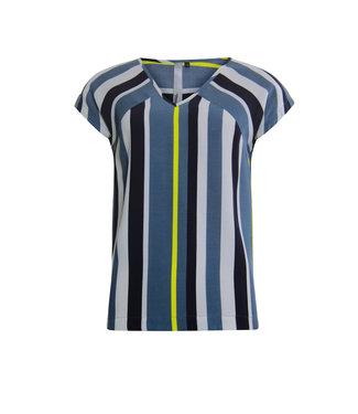 Poools Blouse stripe blauw 013130