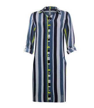Poools Dress stripe blauw 013124
