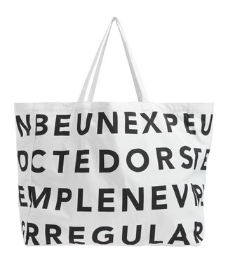 10Days Canvas bag text off white 20-961-0201