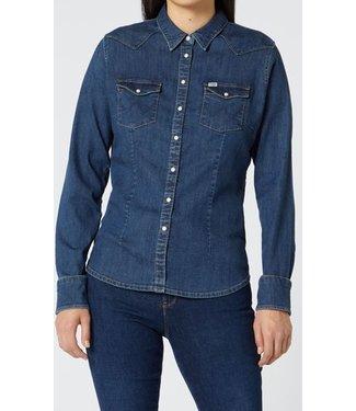 Wrangler Slim western shirt blauw W5Q320X8E
