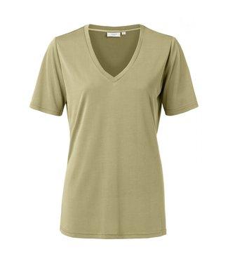 Yaya Modal V-neck T-shirt GREYISH GREEN 1919121-013