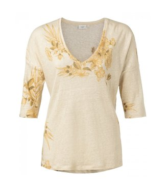 Yaya Linen V-neck T-shirt DESSERT SAND DESSIN 1919113-013