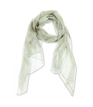 Yaya Cotton scarf with floral print PALE GREEN DESSIN 130182-013