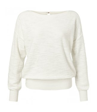 Yaya Cotton sweater with button WOOL WHITE 1000294-013