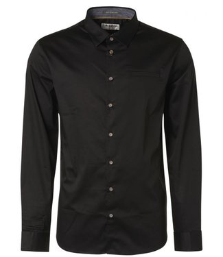 No Excess Shirt basic stretch satin weave black N4305D