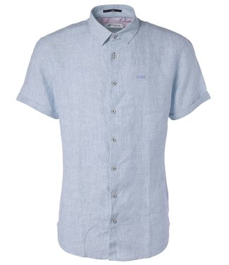 No Excess Shirt, yarn dyed linen Office Blue 95460307