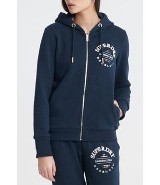 Superdry Applique serif ziphood donkerblauw W2010023A