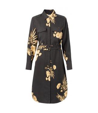 Yaya Modal belted midi dress ALMOST BLACK 1801208-013