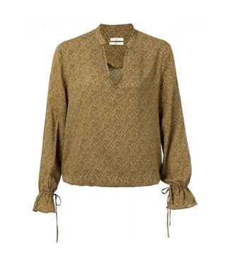 Yaya V-neck blouse with drawstring DARK SAND 1901256-013