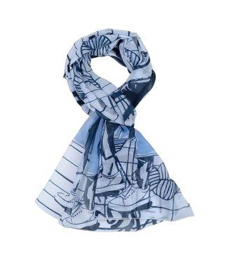 Frank Walder Sjaal blue Print S02203770