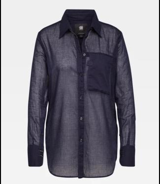 G-Star Core 1 pocket straight shirt donkerblauw D16846-9679-6067