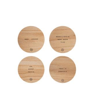 Zusss Set van 4 onderzetters hout zand onderzetters