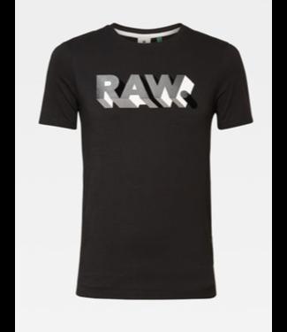 G-Star RAW text slim s/s zwart D17112-336-6484