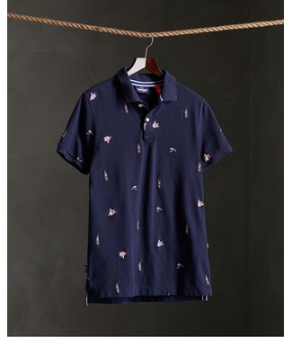 Superdry Classic aoe pique s/s polo donkerblauw M1110003A