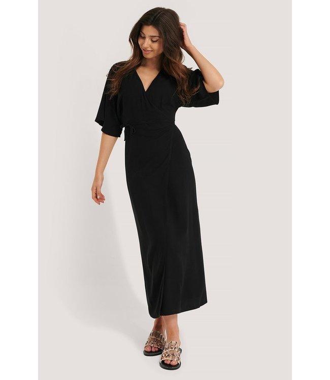 NA-KD Wrap tie dress zwart 1018-004144