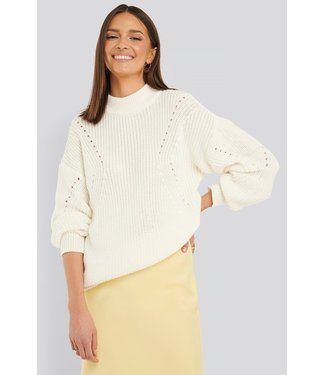 NA-KD Detail knitted oversized sweater off white 1018-003774