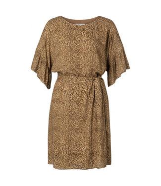 Yaya Belted dress with ruffles CHOCOLATE 1801239-020
