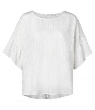 Yaya Crinkled top with ruffles BLANC DE BLANC 1901298-020