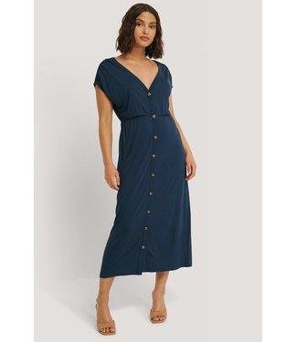 NA-KD Deep v-neck button detail dress donkerblauw 1660-000100