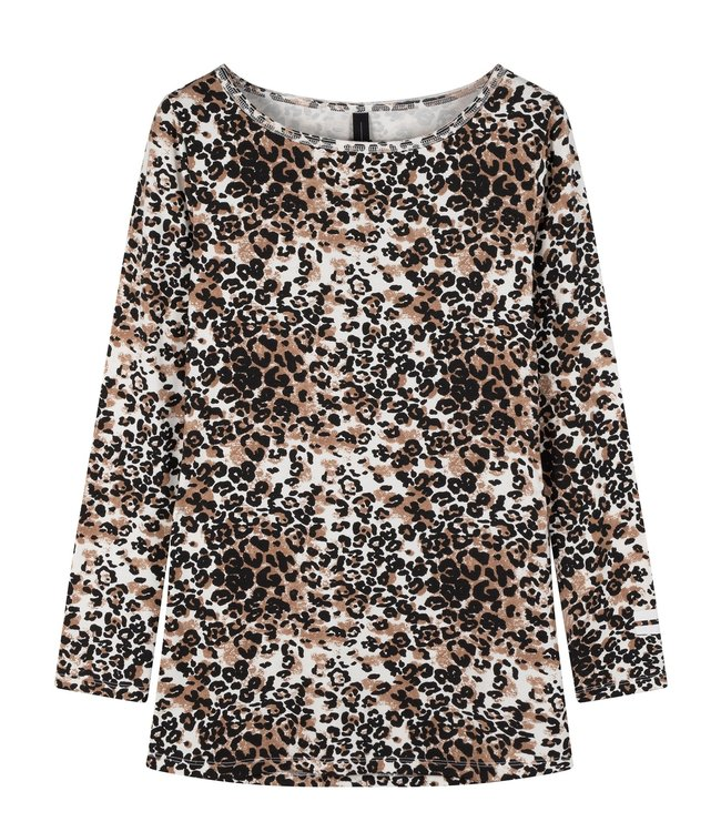 10Days Boat neck tee leopard off white 20-774-0203