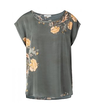 Yaya Round neck T-shirt with print DARK OLIVE 1901335-021