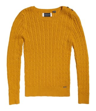 Superdry Croyde cable crew geel W6110057A