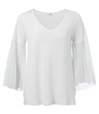 Yaya Cotton blend top with pleats ICE BLUE 1000323-021