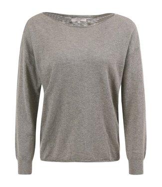 Yaya Cotton blend boat neck sweater CHOCOLATE 1000289-021