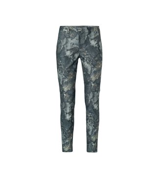 Yaya Cotton blend trousers FADED GREEN DESSIN 1201193-022