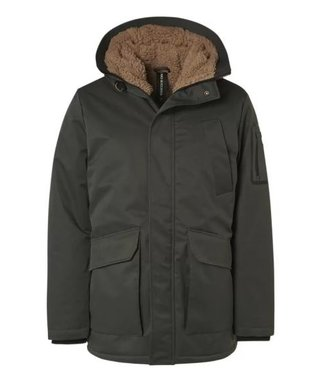No Excess Jacket Long Fit Hooded Parka Teddy dark green 97630910