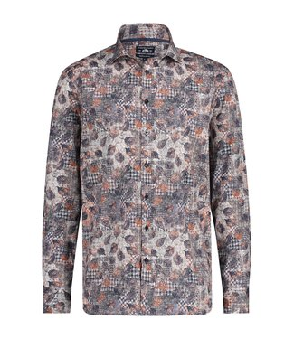State of Art Shirt Printed Poplin brique 214-20319-2983