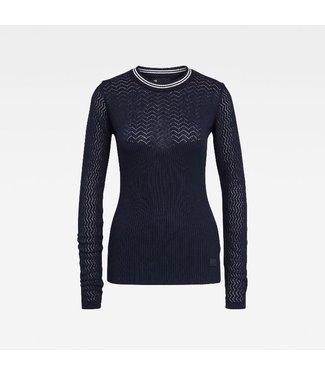 G-Star Pointelle r slim knit wmn l/s blauw D17723-C489-6067