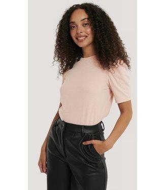 NA-KD Puff sleeve cotton tee rose blush 1660-000128