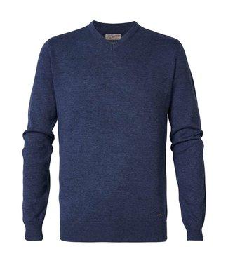 Petrol Industries Knitwear V-Neck blauw M-3000-KWV200