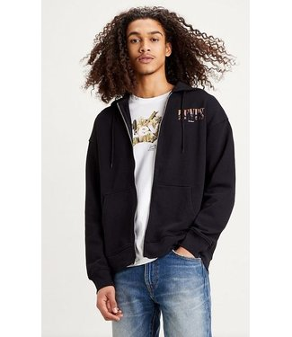 Levi's Relaxed T2 graphic zip up zwart 38717-0000