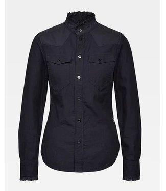 G-Star Western kick frill slim shirt donkerblauw D18635-8349-082