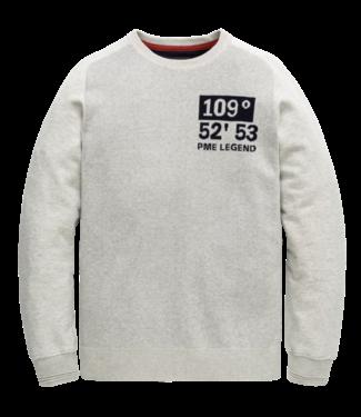 PME Legend Crewneck cotton jacquard knit Light Grey Melee PKW206326
