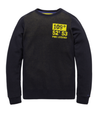 PME Legend Crewneck cotton jacquard knit Night Sky PKW206326