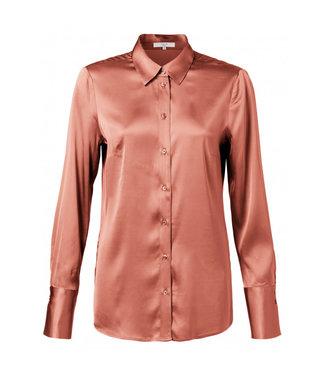 Yaya Satin shirt with cuffs RUSTIC BROWN 110105-023