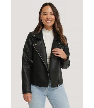 NA-KD Short back biker jacket zwart 1018-004605