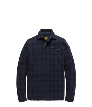PME Legend Long sleeve polo interlock check Night Sky PPS206813