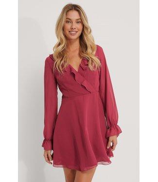 NA-KD Wrapped ruffle blouse rood 1100-002857