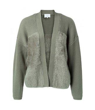 Yaya Faux fur fabric mix cardigan ARMY GREEN 1010108-024