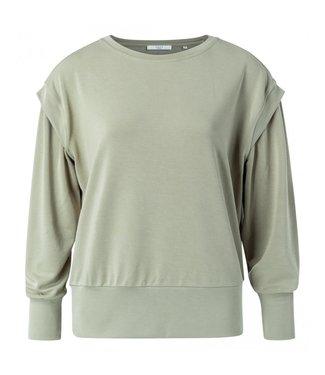 Yaya Sweatshirt with shoulderdetail SILVER SAGE 1009355-024