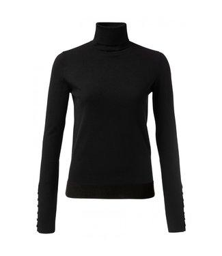 Yaya High neck sweater with button BLACK 1000216-024