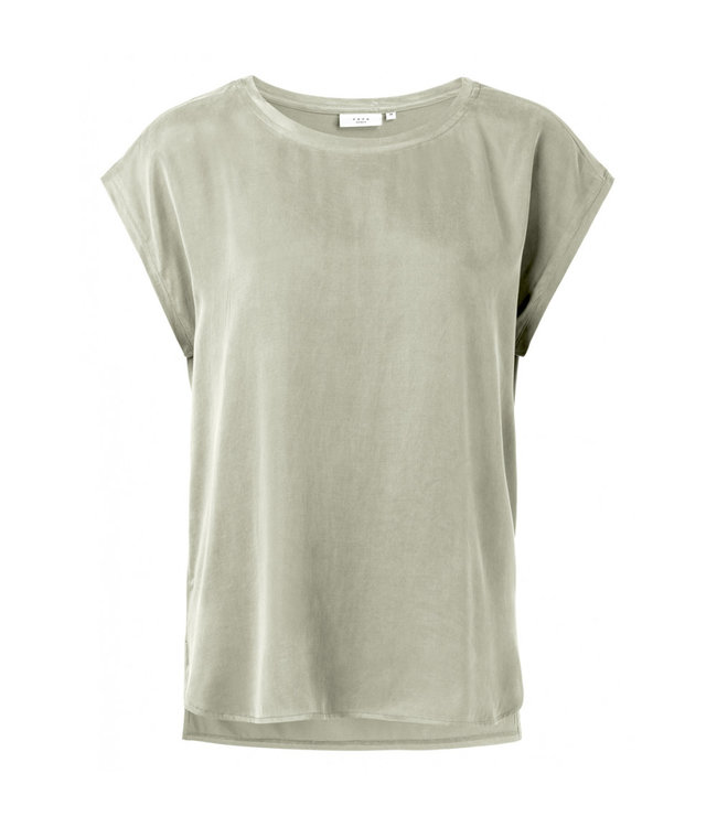 Yaya T-shirt with rounded hems SILVER SAGE 1901116-024