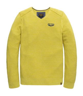 PME Legend V-neck cotton mouline knit Warm Olive PKW206320