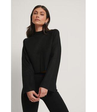 NA-KD Cropped lounge sweater zwart 1018-005407
