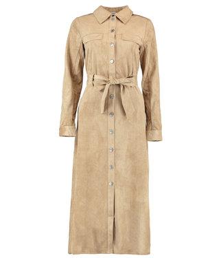 NA-KD Utiltity faux suede shirt dress zand 1018-004590