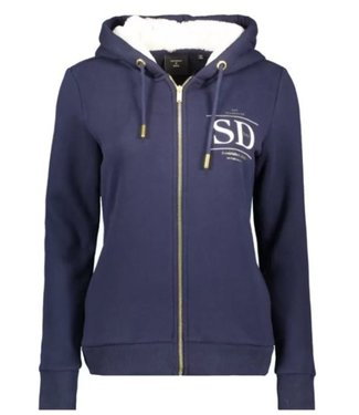 Superdry Established zip hood donkerblauw W2010399A